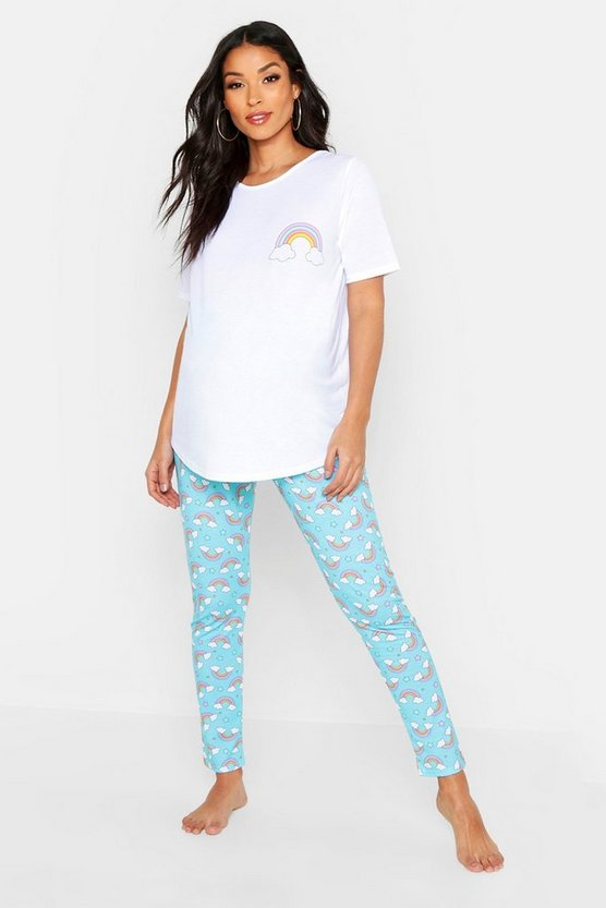 Womens Blue Maternity Rainbow PJ Trouser Set
