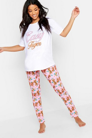 Womens Pink Maternity Easy Tiger PJ Trouser Set