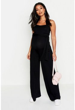 Womens Black Maternity Tie Waist Wide Leg Jumpsuit
