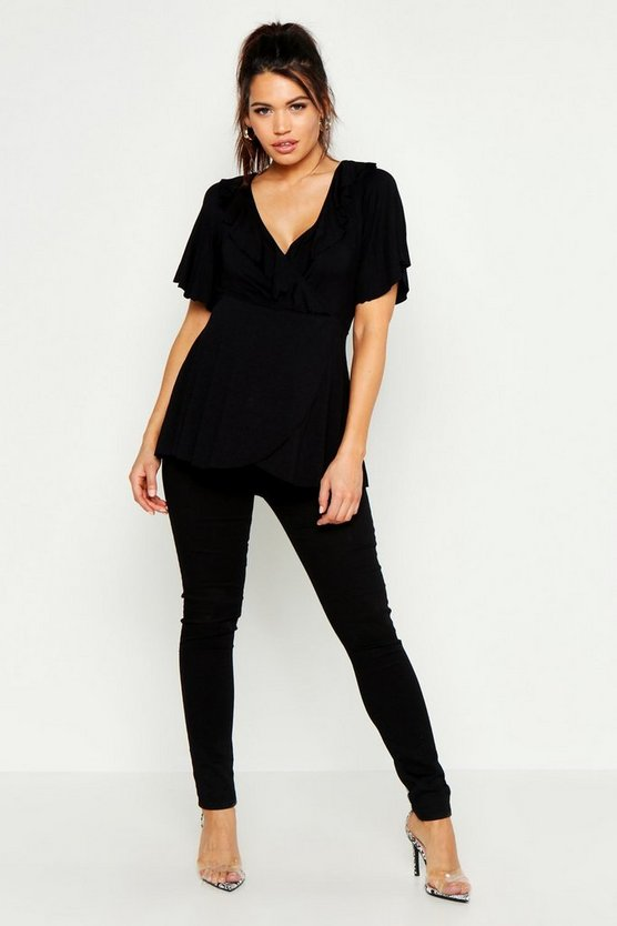Black Maternity Ruffle Wrap Top