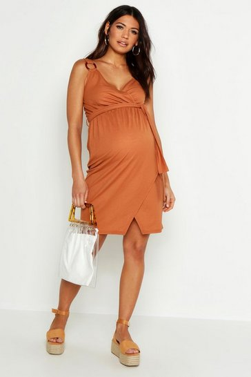 Womens Terracotta Maternity Ring Detail Linen Wrap Dress