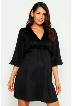 Womens Black Maternity Ruffle Detail Smock Dress