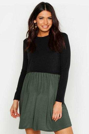 Khaki Maternity Sweat Smock Dress