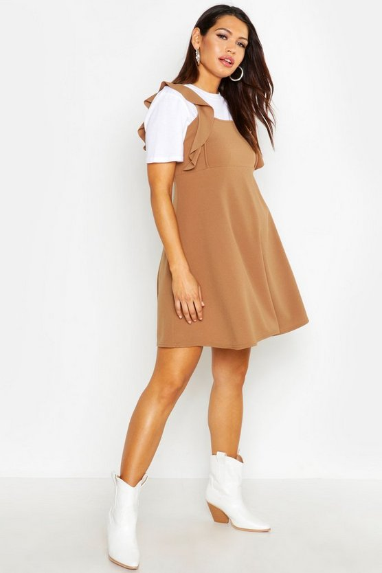 Womens Camel Maternity Ruffle Detail Pinafore Dress