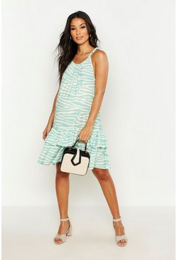 Womens Mint Maternity Strappy Ruche Frill Hem Dress