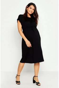Womens Black Maternity Button Front Tie Waist Smock Dress