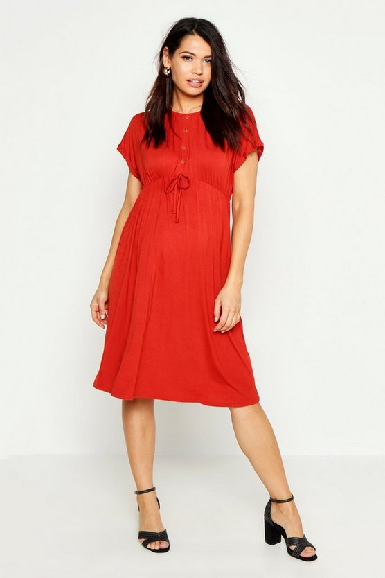 Womens Rust Maternity Button Front Tie Waist Smock Dress