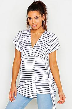 Maternity Stripe Ruffle Wrap Top