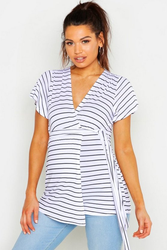 Womens Black Maternity Stripe Ruffle Wrap Top