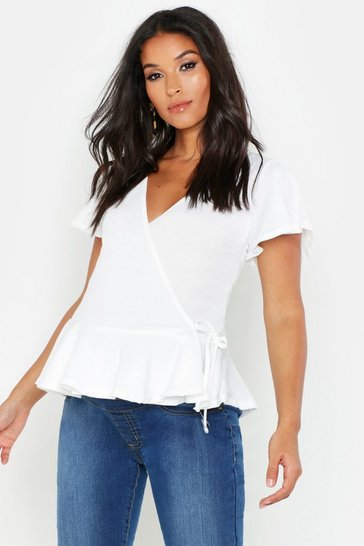 Womens White Maternity Peplum Top