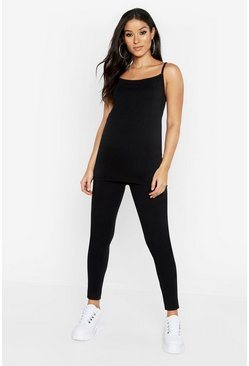 Womens Black Maternity 2 Pack Cami And Legging
