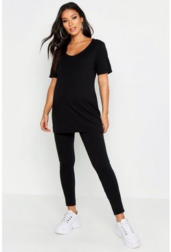 Womens Black Maternity 2 Pack T-Shirt + Legging