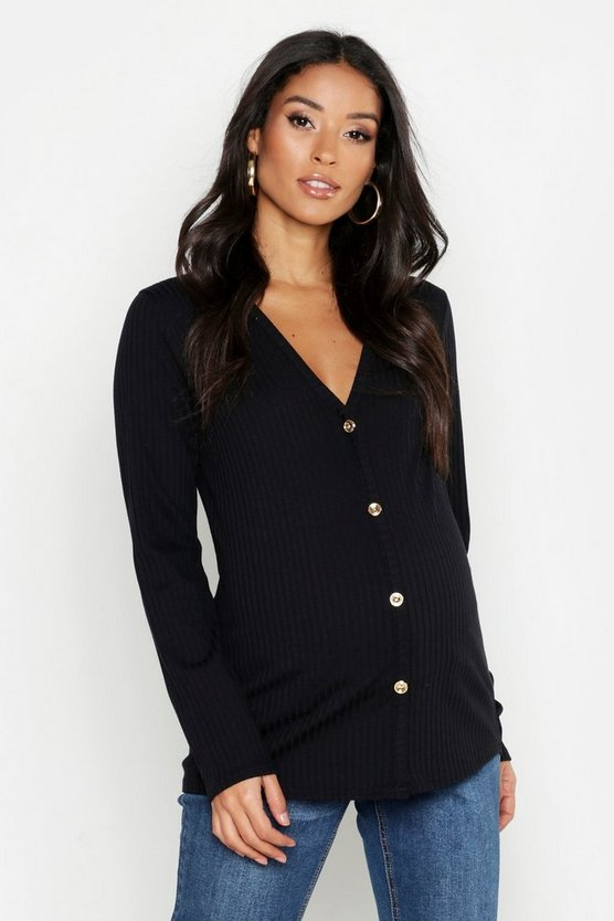 Black Maternity V Neck Button Front Sweater