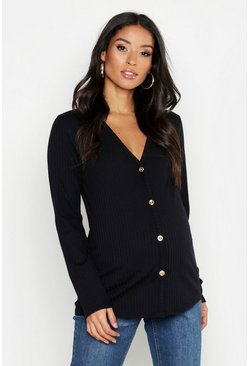 Womens Black Maternity V Neck Button Front Jumper