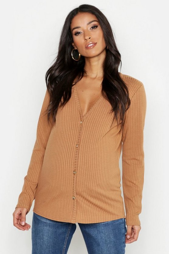 Womens Camel Maternity V Neck Button Front Jumper
