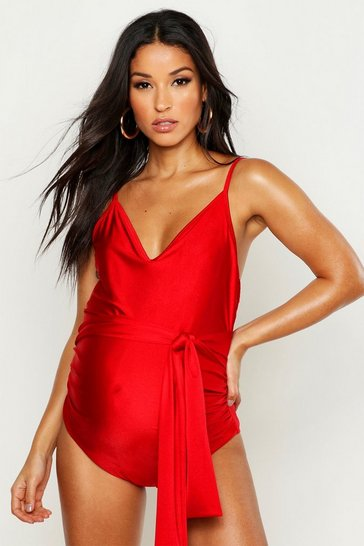 Womens Red Maternity Tie Waist Wrap Swimsuit