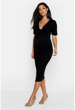 Womens Black Maternity Tie Front Short Sleeve Midi Dress