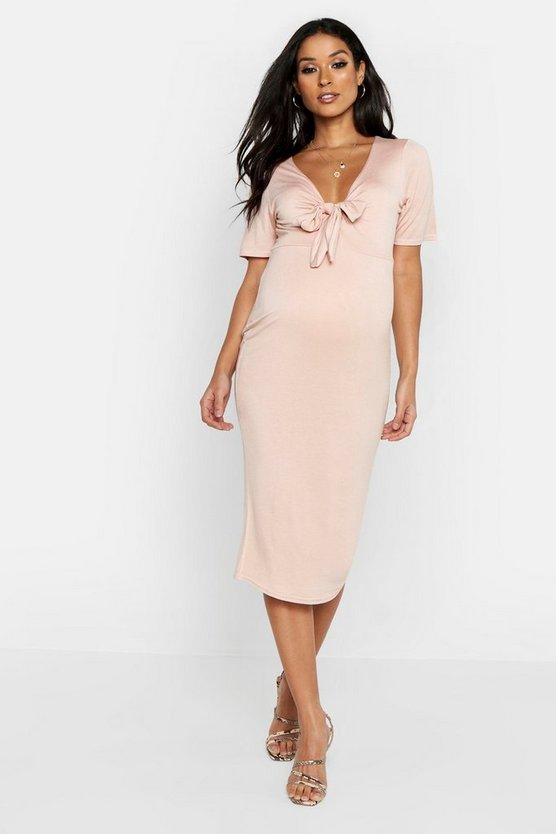 Womens Blush Maternity Tie Front Short Sleeve Midi Dress
