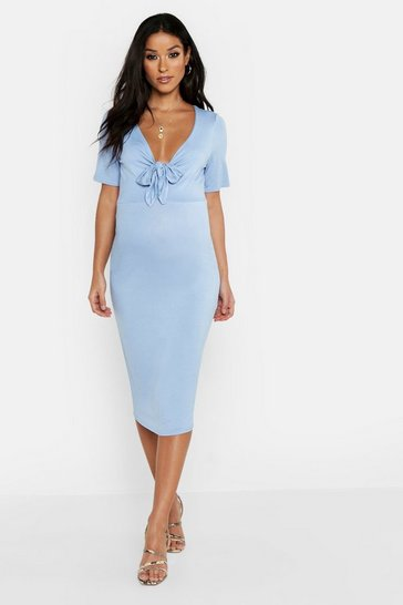 Womens Sky Maternity Tie Front Short Sleeve Midi Dress