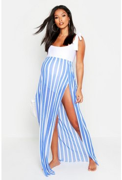 Womens Blue Maternity Split Beach Maxi Skirt