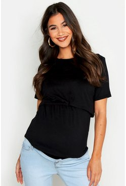 Black Maternity Double Layer Nursing Tee