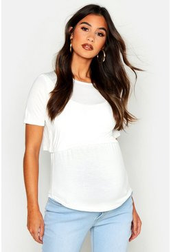 Womens Ivory Maternity Double Layer Nursing Tee