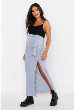 Womens Light grey Maternity Tie Waist Slit Front Maxi Skirt