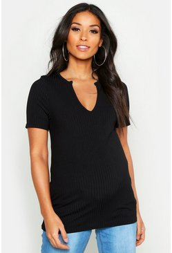 Womens Black Maternity Notch Front Top