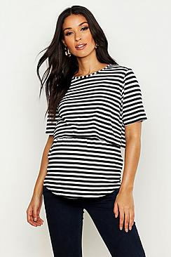 Maternity Double Layer Stripe Nursing T-Shirt