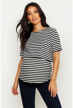 Black Maternity Double Layer Stripe Nursing T-Shirt