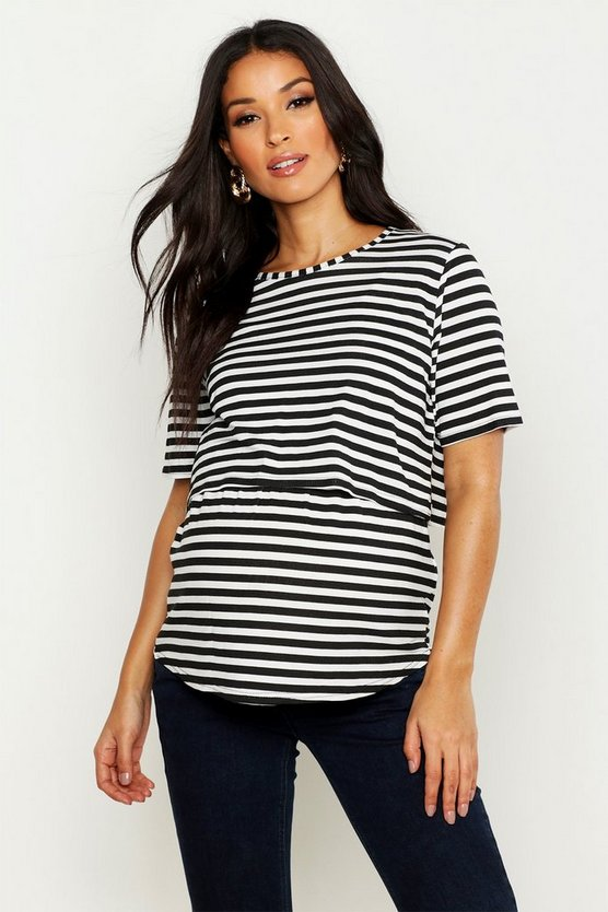 Womens Black Maternity Double Layer Stripe Nursing T-Shirt