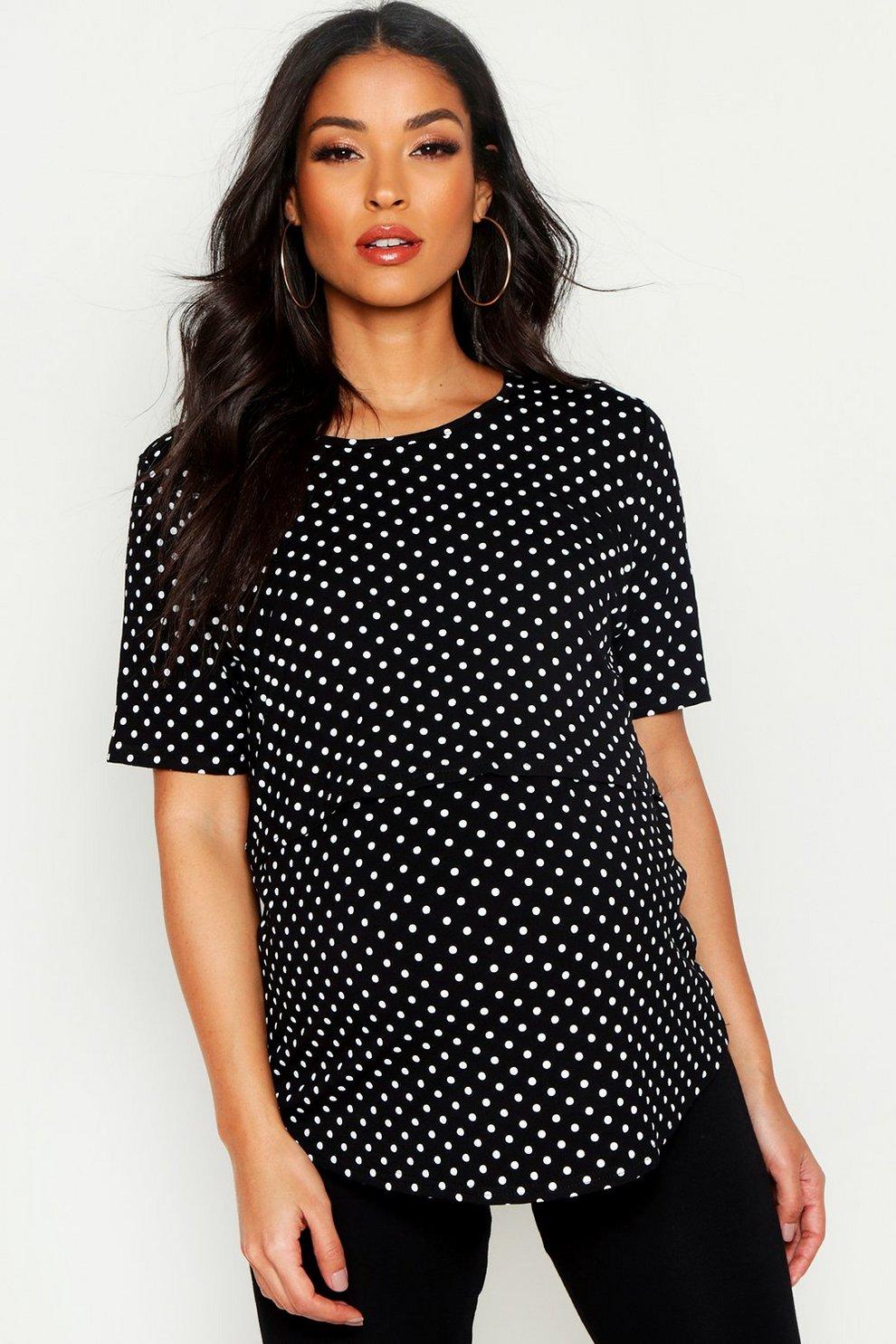 ce1373587 Womens Black Maternity Double Layer Polka Dot Nursing T-Shirt
