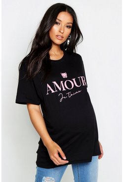 Womens Black Maternity 'Amour' Slogan Tee