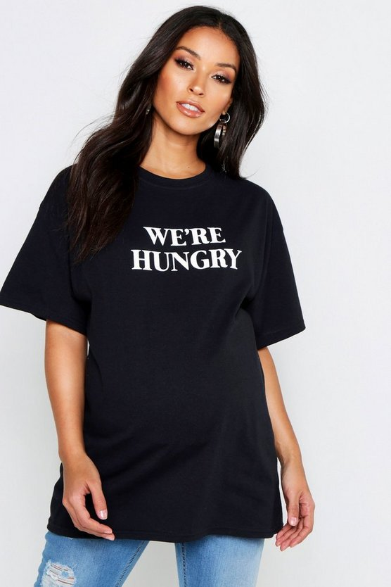 Womens Black Maternity 'Were Hungry' Slogan Tee