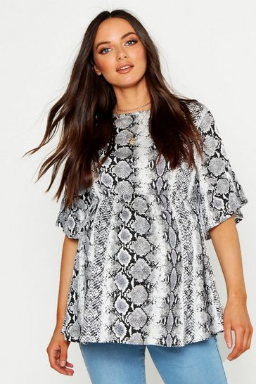 Womens Grey Maternity Snake Smock Top