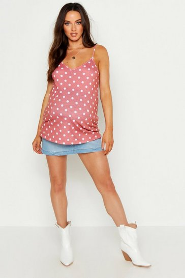 Womens Terracotta Maternity Polka Dot Swing Cami