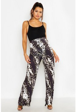 Womens Black Maternity Chain Print Wide Leg Trouser