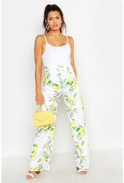 White Maternity Lemon Print Wide Leg Trouser