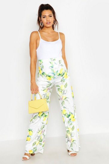 Womens White Maternity Lemon Print Wide Leg Trouser
