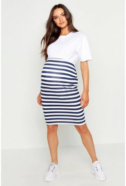 Womens Navy Maternity Stripe Midi Skirt