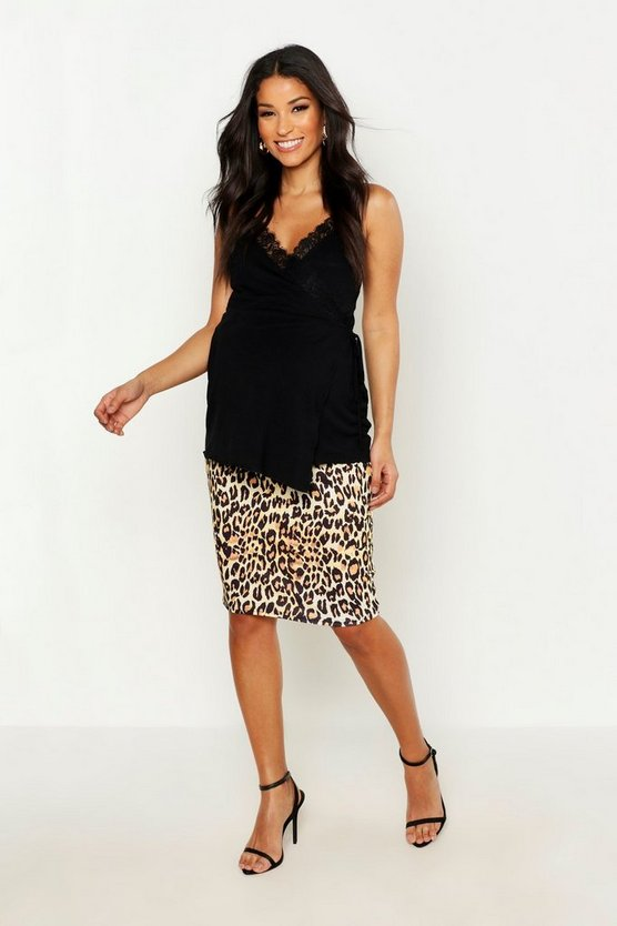 Womens Tan Maternity Leopard Print Midi Skirt