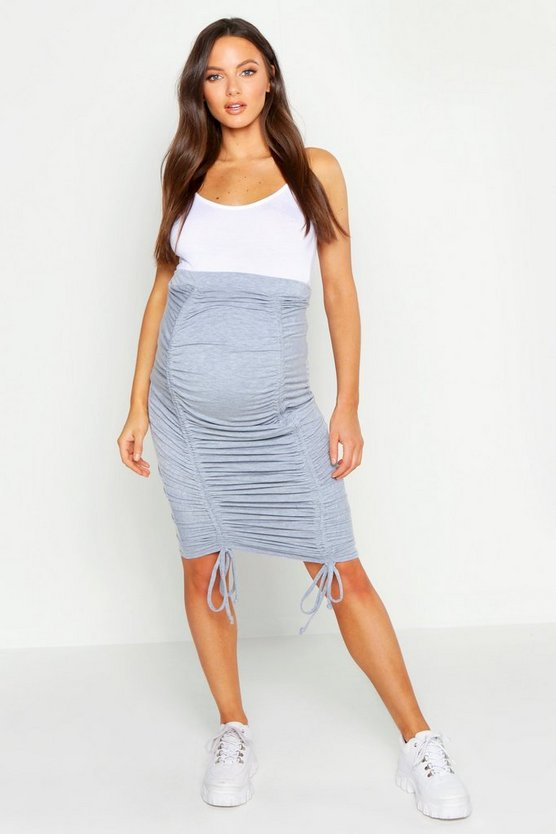 Womens Light grey Maternity Ruched Side Midi Skirt