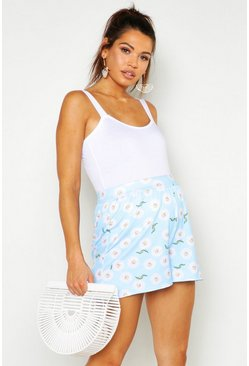 Womens Pale blue Maternity Floral Print Flippy Short