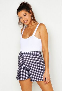 Womens Black Maternity Gingham Flippy Short