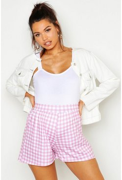 Pale pink Maternity Gingham Flippy Short