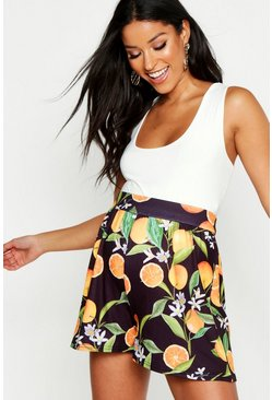 Womens Black Maternity Citrus Print Flippy Short