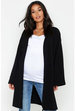 Womens Black Maternity Kimono Duster Jacket