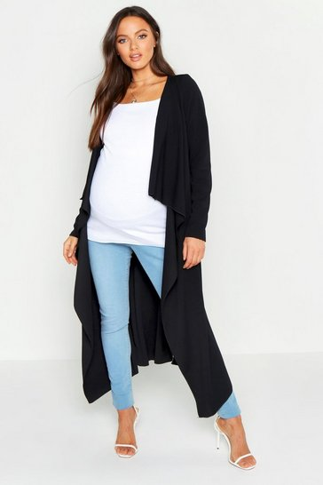 Womens Black Maternity Waterfall Duster Jacket