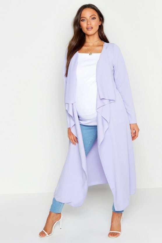 Womens Lilac Maternity Waterfall Duster Jacket