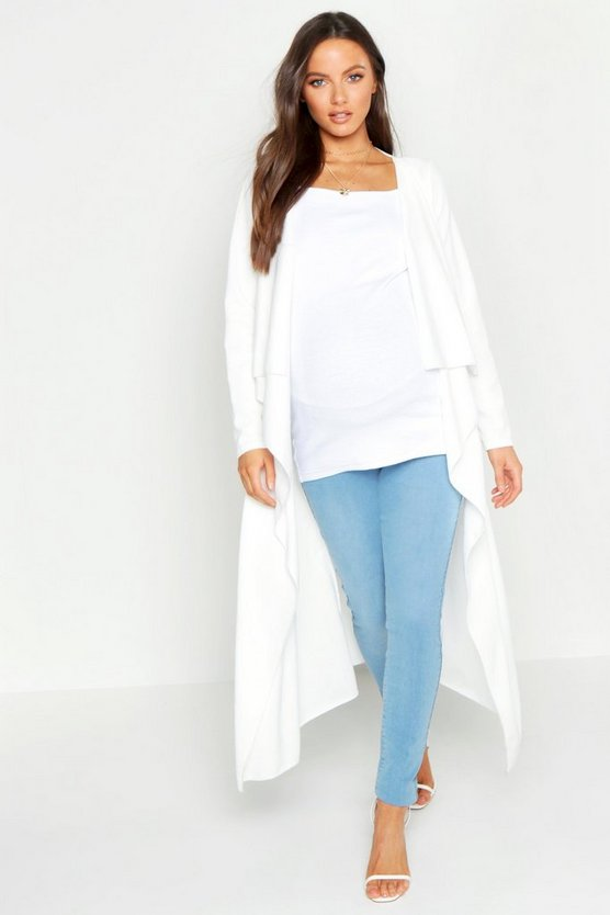 Womens White Maternity Waterfall Duster Jacket